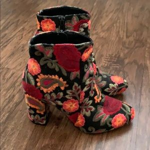 MIA floral embroidered ankle bootie